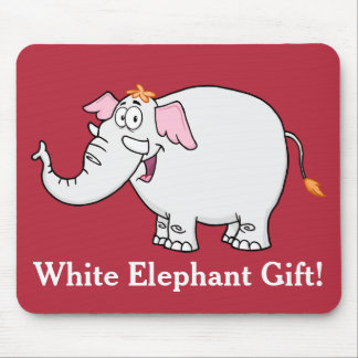 White Elephant Exchange Cartoon Mouse Pad