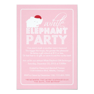 White Elephant Gift Exchange Holiday Party 13 Cm X 18 Cm Invitation Card