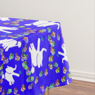 White elephant Hanukkah tablecloth with dreidels
