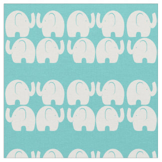 White Elephant Line Pattern Aqu Fabric
