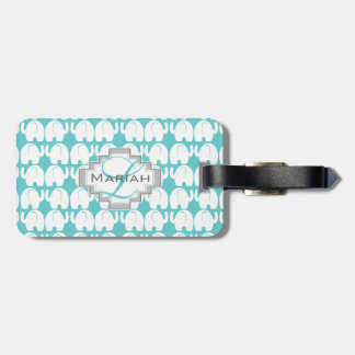 White Elephant Pattern Aqua Monogram Luggage Tag