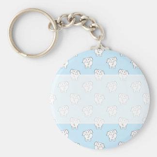 White Elephant Pattern on Pale Blue. Basic Round Button Key Ring