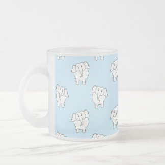 White Elephant Pattern on Pale Blue. 10 Oz Frosted Glass Coffee Mug