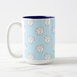 White Elephant Pattern on Pale Blue. Two-Tone Mug