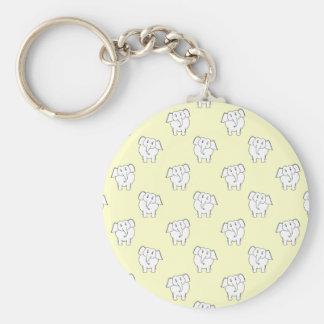 White Elephant Pattern on Yellow. Keychain