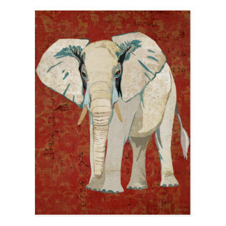 White Elephant Red Postcard