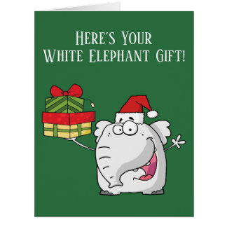 White Elephant Santa Hat Gifts Card