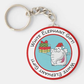 White Elephant Santa Hat Gifts Cartoon Key Ring