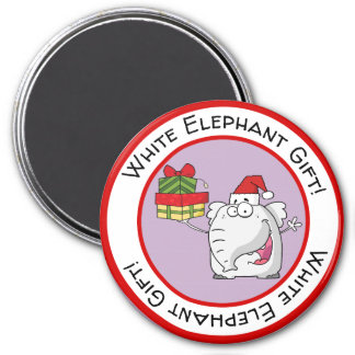 White Elephant Santa Hat Gifts Cartoon Magnet