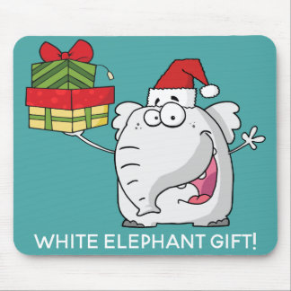 White Elephant Santa Hat Gifts Cartoon Mouse Pad