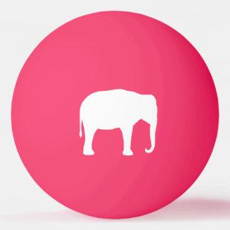 White Elephant Silhouette Ping Pong Ball