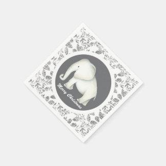 White elephant silver glitz Christmas party napkin Disposable Napkins