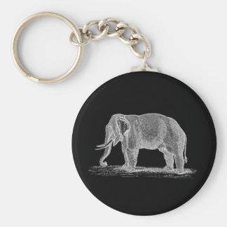White Elephant Vintage 1800s Illustration Basic Round Button Key Ring