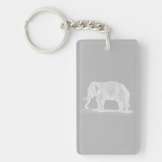 White Elephant Vintage 1800s Illustration Key Ring