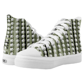 White Elephants On Olive-Green Camouflage Stripes High Tops
