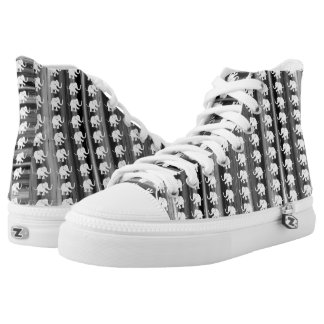 White Elephants Pattern On Grey Hues Stripes High Tops