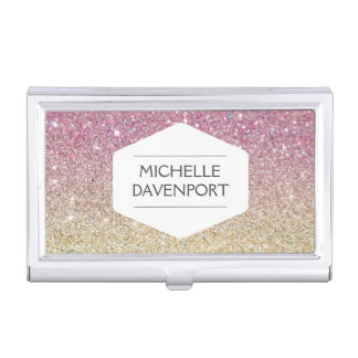 WHITE EMBLEM ON PINK OMBRE GLITTER Card Case Business Card Cases