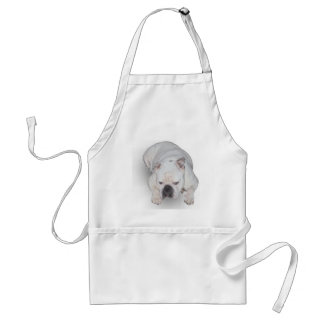 White English Bulldog apron