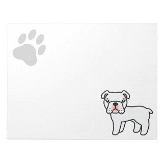 White English Bulldog Cartoon Dog Notepad