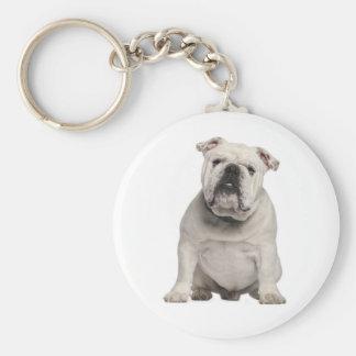 White English Bulldog Puppy Dog Keychain