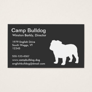 White English Bulldog Silhouette Business Card