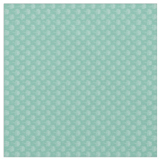 White Etched Flowers on Teal Fabric