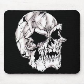 White Evil Scary Deadly Skull Mousepad