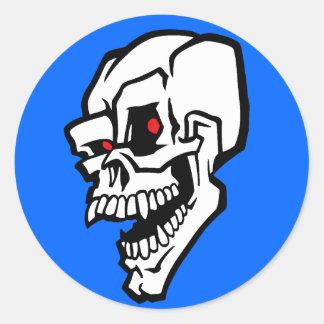 White Evil Skull with Red Eyes Round Sticker
