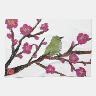 White Eye, Plum Tree, Bird Tea Towel
