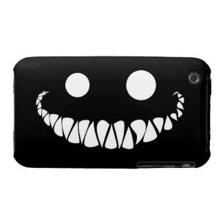white eyes and teeth on black background iPhone 3 cases