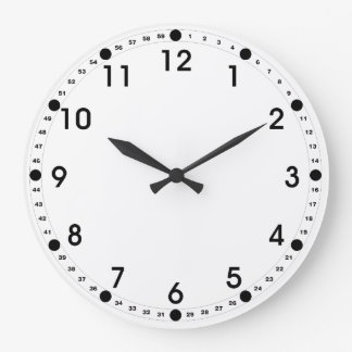 White Face - Black Numbers Large Clock