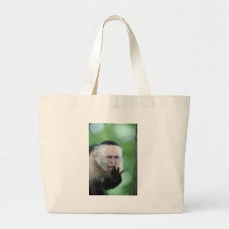 White faced capuchin monkey large tote bag