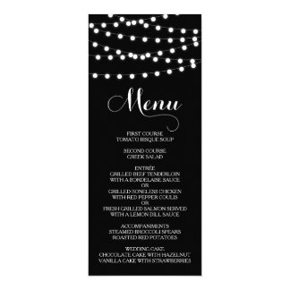 White Fairy Lights | Black Wedding Menu Card