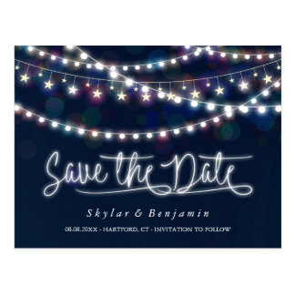 White Fairy Lights Blue Save the Date Postcard
