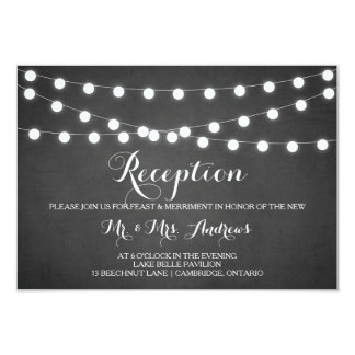 White Fairy Lights Chalkboard Reception Card 9 Cm X 13 Cm Invitation Card