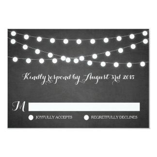 White Fairy Lights Chalkboard Wedding RSVP Card