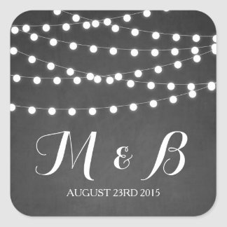 White Fairy Lights Chalkboard Wedding Sticker