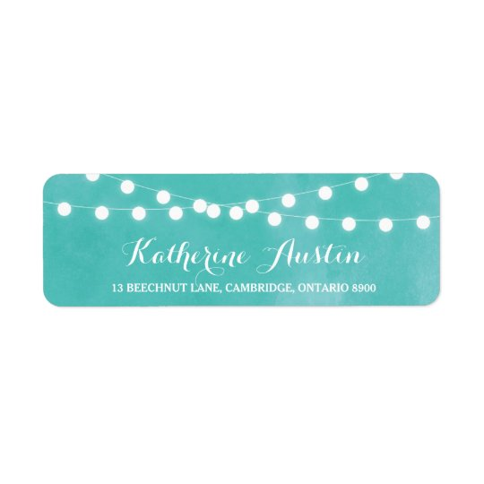 White Fairy Lights Watercolor Return Address Label