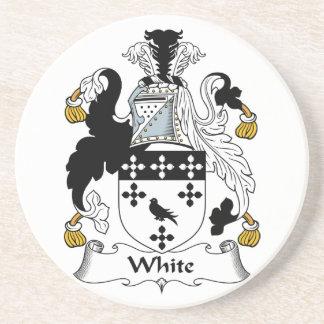 White Family Crest Coaster