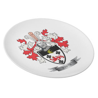 White Family Crest Coat of Arms Party Plates
