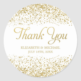 White Faux Gold Glitter Wedding Favor Thank You Round Sticker