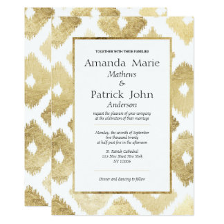 White faux gold modern Ikat elegant wedding Card