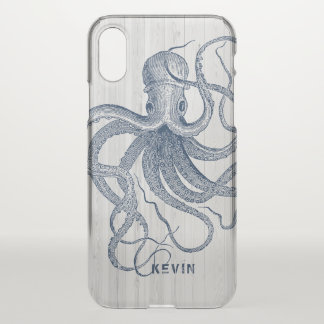 White Faux Wood & Blue Nautical Octopus iPhone X Case