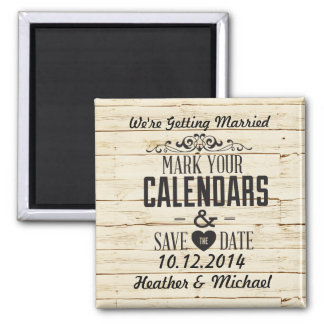 White Faux Wood Save the Date Square Magnet