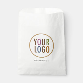 White Favor Bags with Company Logo Low Minimum