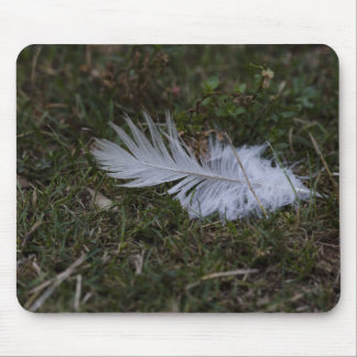 White Feather Mouse Pad