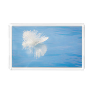 White Feather Reflects on Water | Seabeck, WA Acrylic Tray