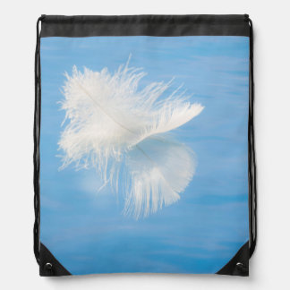 White Feather Reflects on Water | Seabeck, WA Drawstring Bag