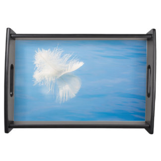 White Feather Reflects on Water | Seabeck, WA Serving Tray