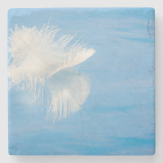 White Feather Reflects on Water | Seabeck, WA Stone Coaster